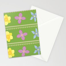 Spring Flowers Pattern [GREEN] Stationery Cards