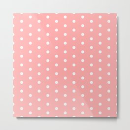 Polka dot pattern, classic pink, dotted, retro style design, white points circles, vintage pin-up Metal Print