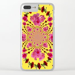 PINK-RED ROSES ON YELLOW-PINK ART Clear iPhone Case