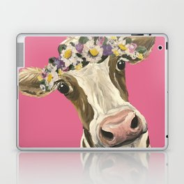 Cute Cow Art, Colorful Flower Crown Cow Art Laptop & iPad Skin