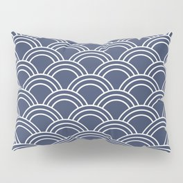 Blue & White Japanese Seigaiha Wave  Pillow Sham