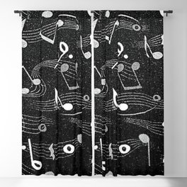 Musical Notes black and white textile photograph Blackout Curtain