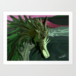 Watermelon Tourmaline Dragon Art Print