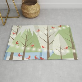 Holiday Winter Scene with Red Bird Santas and Glowing Lights in a Christmas Tree Forest Rug