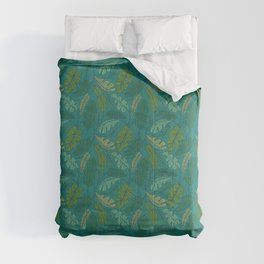 Contour Line Leaves in Teal Comforters