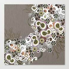 Diagonal flower – brown and olive green fiber Canvas Print