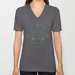 Hamsa Hand in Blue and Gold Unisex V-Neck