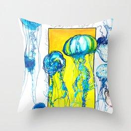 Blue jellys Throw Pillow