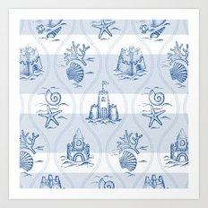 Sandcastle Nautical_Pattern Art Print