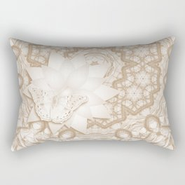 Butterfly on mandala in iced coffee tones Rectangular Pillow
