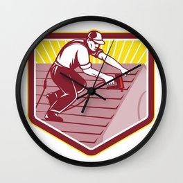 Roofer Roofing Worker Retro Wall Clock