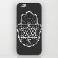 sacred geometry iPhone & iPod Skins featuring Sacred Geometry Hamsa by Megan Carty