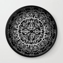 Detailed Black and White Mandala Pattern Wall Clock