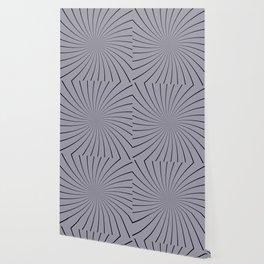 3D Pantone Lilac Gray with Black Thin Striped Circle Pinwheel Wallpaper