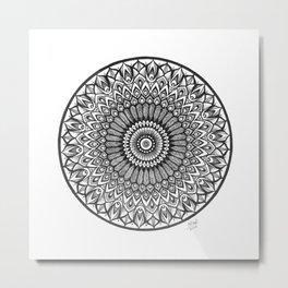 Black and White Ink Mandala Art, Boho Style Peacock Mandala Design Metal Print