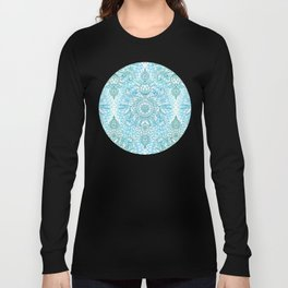 Turquoise Blue, Teal & White Protea Doodle Pattern Long Sleeve T-shirt
