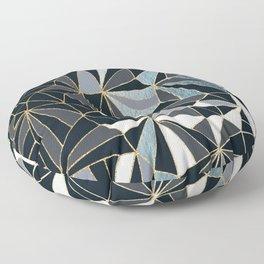 Stylish Art Deco Geometric Pattern - Black, blue, Gold #abstract #pattern Floor Pillow