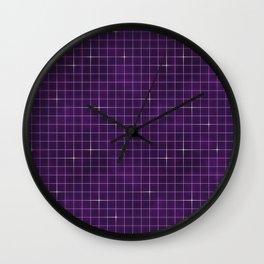 Purple retrowave grid Wall Clock