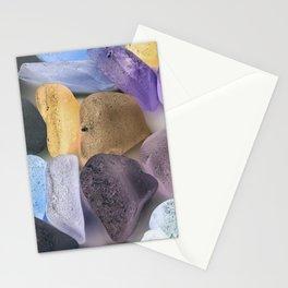 New England beach glass ultraviolet Stationery Cards