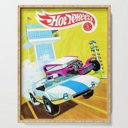 Vintage Redline Era Hot Wheels Demon and Jack Rabbit Special Grand Prix Drag Racing Vintage Poster Serving Tray