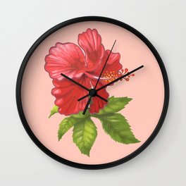 Pink Hibiscus Flower Wall Clock