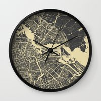amsterdam Wall Clocks featuring Amsterdam by Map Map Maps