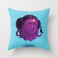 lumpy space princess Throw Pillows featuring Lumpy Space Princess Leia by Joshua Ang