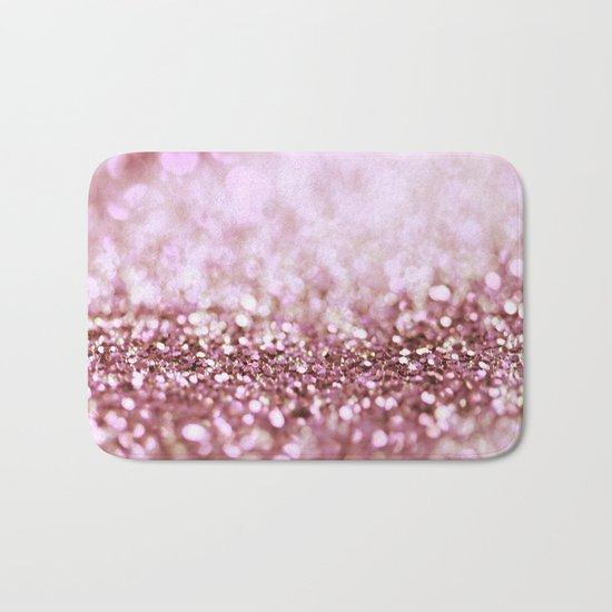 Pink sparkle shiny glitter effect print - Sparkle Valentine Backdrop on #Society6 Bath Mat