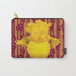 Burgundy Color Yellow Iris Deco Pattern Art Carry-All Pouch