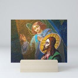 The image of Jesus Christ in a fresco -  Russia Mini Art Print
