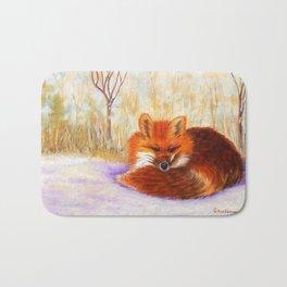 Red fox small nap | Renard roux petite sieste Bath Mat