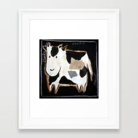 cow Framed Art Prints featuring cow by woman