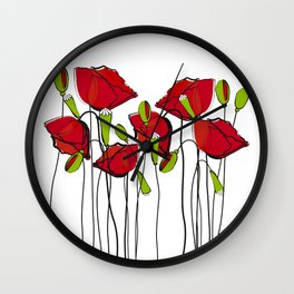 Whimsical Red Poppies Wall Clock