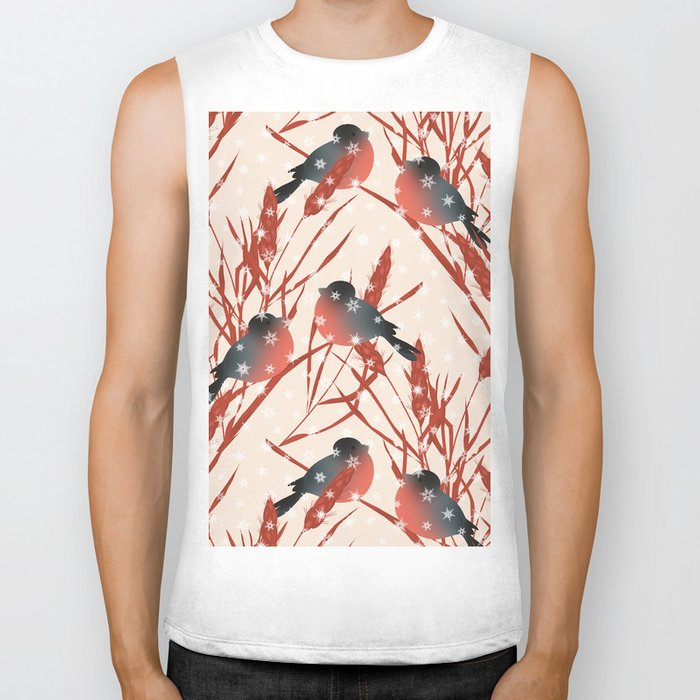 Winter pattern with bullfinches. Biker Tank