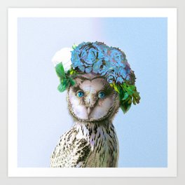 Cool Animal Art - Owl with a Flower Crown Art Print