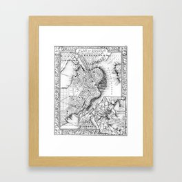 Vintage Map of Downtown Boston (1864) BW Framed Art Print