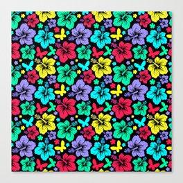 Hibiscus Pattern in Black Canvas Print