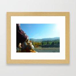Gnome enjoying the vineyards of Napa Valley Framed Art Print