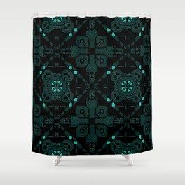 Dark Green Techno Lines Pattern Shower Curtain
