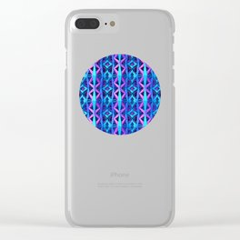 Blue/Purple Metallic Pattern Clear iPhone Case