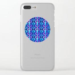 Blue/Purple Metallic Pattern Clear iPhone Case