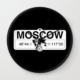 MoscowIdaho Map GPS Coordinates Artwork with Compass Wall Clock