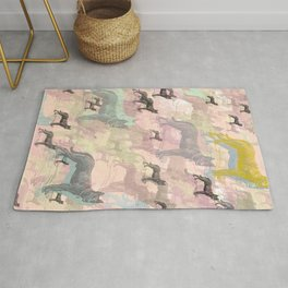 Sky Dogs - Abstract Geometric pink mauve mint grey orange Rug