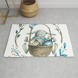 Easter bunny in a basket of eggs & flowers Rug