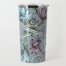 Infinity Floral Moon Garden in Gray Travel Mug
