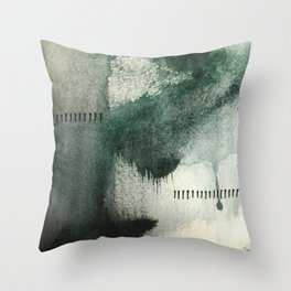 Last Kiss: a minimal, abstract watercolor piece in greens Throw Pillow