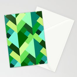 Modern Abstract Triangles, Emerald Green and Aqua Stationery Cards
