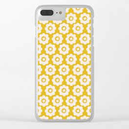 Canary Yellow Retro Floral Clear iPhone Case