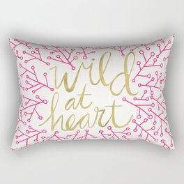 Wild at Heart – Pink & Gold Rectangular Pillow