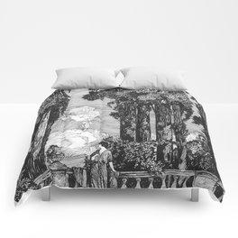 "Vintage Illustration - ""Garden Grotto"" Comforters"